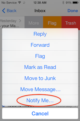 How to Add Push Notifications to an iPhone Email Thread